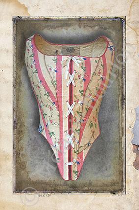 Corset rayures - Carte postales Mélanie Bourlon - série 3