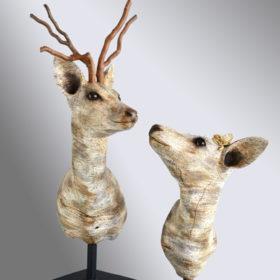Chevreuils bouleau- Sculpture en papier de Mélanie Bourlon - 38 Le Avenières - Isère - Rhône-Alpes - France - Photo : Anthony Cottarel