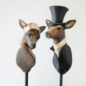 Monsieur et Madame Chevreuils- Sculpture en papier de Mélanie Bourlon - 38 Le Avenières - Isère - Rhône-Alpes - France - Photo : Anthony Cottarel
