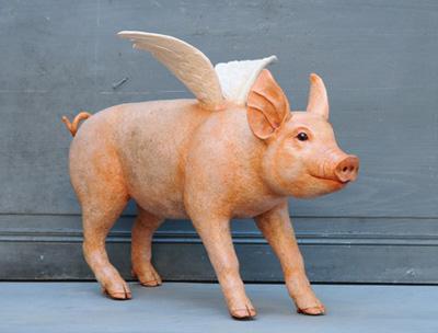 Cochon ailé- Sculpture en papier de Mélanie Bourlon - 38 Le Avenières - Isère - Rhône-Alpes - France - Photo : Anthony Cottarel