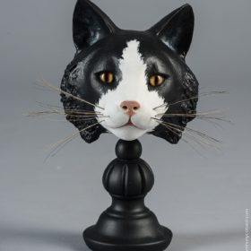 Chat Félix- Sculpture en papier de Mélanie Bourlon - 38 Le Avenières - Isère - Rhône-Alpes - France - Photo : Anthony Cottarel