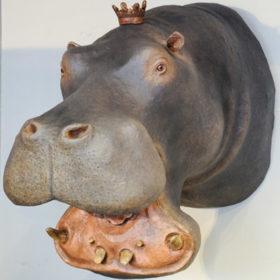 Hippopotame- Sculpture en papier de Mélanie Bourlon - 38 Le Avenières - Isère - Rhône-Alpes - France - Photo : Anthony Cottarel