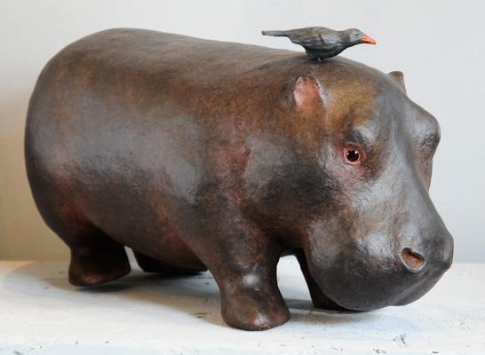 Mini Hippo- Sculpture en papier de Mélanie Bourlon - 38 Le Avenières - Isère - Rhône-Alpes - France - Photo : Anthony Cottarel