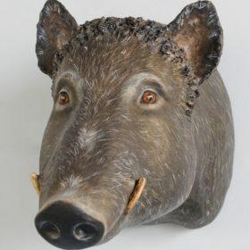 Sanglier tête- Sculpture en papier de Mélanie Bourlon - 38 Le Avenières - Isère - Rhône-Alpes - France - Photo : Anthony Cottarel