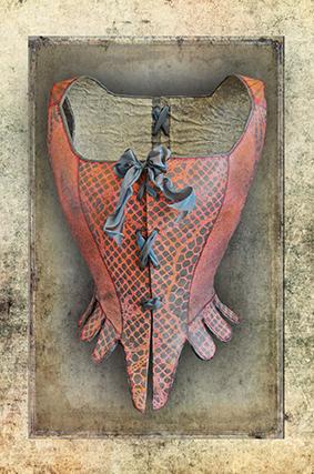 Corset rose impression sur toile 30cm x 20cm