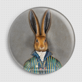 Badge lapin gris