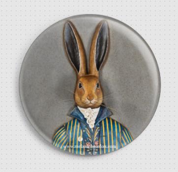 Badge lapin gris