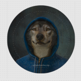 Badge loup capuche