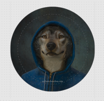 Badge loup capuche