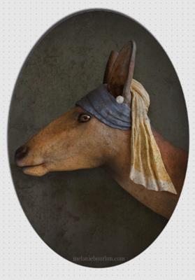 magnet ovale biche à la perle - Mélanie Bourlon - Sculptures - Papier mâché - Vente en ligne - Petits objets