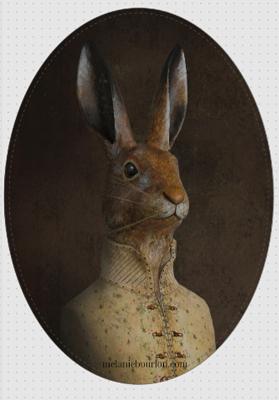 magnet ovale lièvre gilet - Mélanie Bourlon - Sculptures - Papier mâché - Vente en ligne - Petits objets