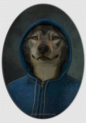 magnet ovale loup capuche - Mélanie Bourlon - Sculptures - Papier mâché - Vente en ligne - Petits objets