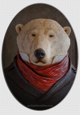 magnet ovale ours - Mélanie Bourlon - Sculptures - Papier mâché - Vente en ligne - Petits objets