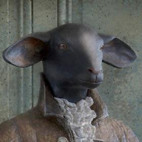 Agneau marquis - Impression sur toile 20x20 cm - Mélanie Bourlon Sculptures en Papier Mâché