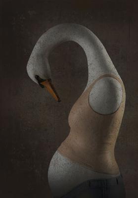 23.C'est un cygne - Mélanie Bourlon - Sculpture en papier mâché - Impression sur toile - 20 cm x 20 cm - Photo Anthony Cottarel
