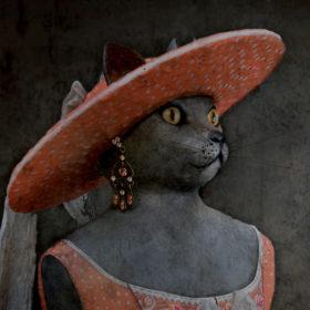 Dame chat Impression sur toile 20x20 cm - Mélanie Bourlon Sculptures en Papier Mâché
