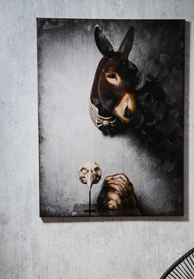 Impression sur toile 120cm x 90cm - Ane - Cabinet de curiosités - Sculpture en papier de Mélanie Bourlon - 38 Le Avenières - Isère - Rhône-Alpes - France - Photo : Anthony Cottarel