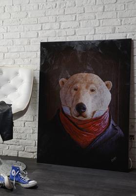 Impression sur toile 120cm x 90cm - Ours - Cabinet de curiosités - Sculpture en papier de Mélanie Bourlon - 38 Le Avenières - Isère - Rhône-Alpes - France - Photo : Anthony Cottarel