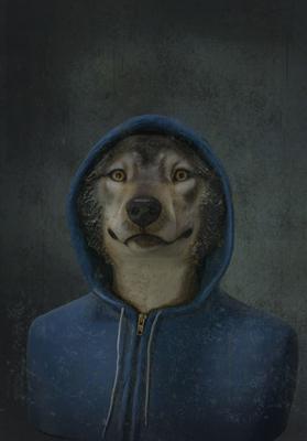 24.Jeune loup - Mélanie Bourlon - Sculpture en papier mâché - Impression sur toile - 20 cm x 20 cm - Photo Anthony Cottarel