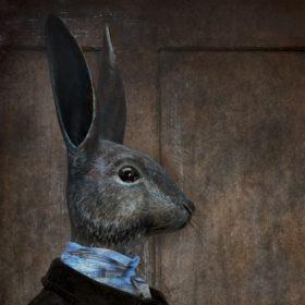 Lapin chasseur Impression sur toile 20x20 cm - Mélanie Bourlon Sculptures en Papier Mâché
