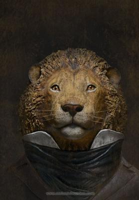 22.Monsieur Lion - Mélanie Bourlon - Sculpture en papier mâché - Impression sur toile - 20 cm x 20 cm - Photo Anthony Cottarel