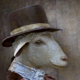 Mouton marquis Impression sur toile 20x20 cm - Mélanie Bourlon Sculptures en Papier Mâché