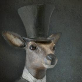 Sieur chevreuil Impression sur toile 20x20 cm - Mélanie Bourlon Sculptures en Papier Mâché