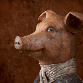 Sieur cochon Impression sur toile 20x20 cm - Mélanie Bourlon Sculptures en Papier Mâché