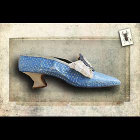 Soulier bleu - Impression sur toile 30cm x 20cm - Cabinet de curiosités - Sculpture en papier de Mélanie Bourlon - 38 Le Avenières - Isère - Rhône-Alpes - France - Photo : Anthony Cottarel