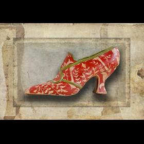 Soulier rouge vert - Impression sur toile 30cm x 20cm - Cabinet de curiosités - Sculpture en papier de Mélanie Bourlon - 38 Le Avenières - Isère - Rhône-Alpes - France - Photo : Anthony Cottarel