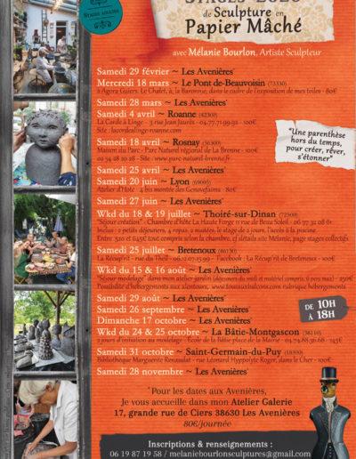 Dates de stages collectifs d'initiation au modelage en papier mâché - par Mélanie Bourlon