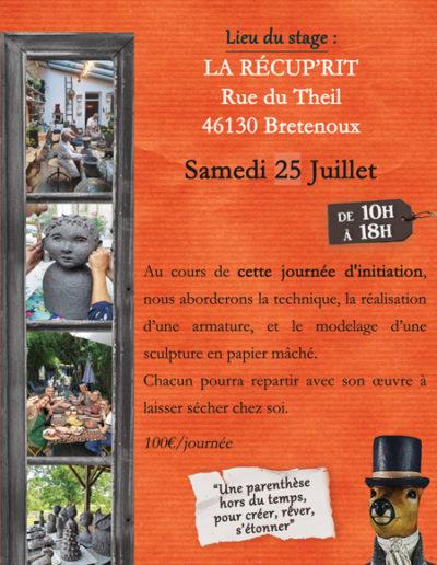 Stage collectif de sculpture en papier mâché - Samedi 25 juillet 2020 à Bretenoux - La Récup'rit (46) - Mélanie Bourlon artiste sculptrice
