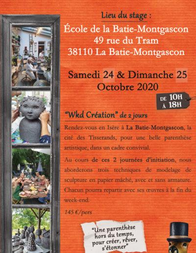 Wkd création à la Bâtie-Montgascon (38) - Octobre 2020 - Stages collectifs de sculpture en papier mâché - Mélanie Bourlon artiste sculptrice