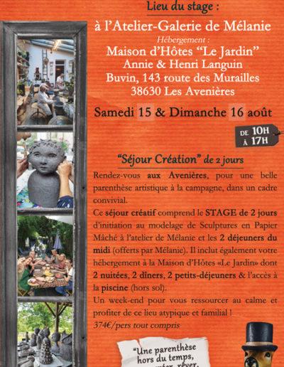 Wkd création aux Avenières - Le Jardin - Maison d'Hôtes - Août 2020 - Stages collectifs de sculpture en papier mâché - Mélanie Bourlon artiste sculptrice