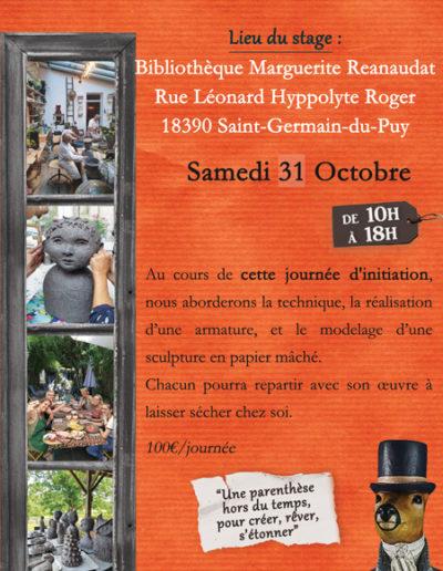 Stage collectif de sculpture en papier mâché - Samedi 31 octobre à Saint-Germain du Puy - Mélanie Bourlon artiste sculptrice