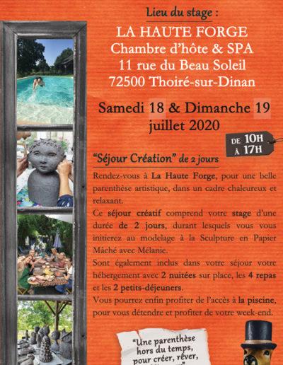 Wkd création à Thoiré sur Dinan - Maison d'Hôtes - Juillet 2020 - Stages collectifs de sculpture en papier mâché - Mélanie Bourlon artiste sculptrice