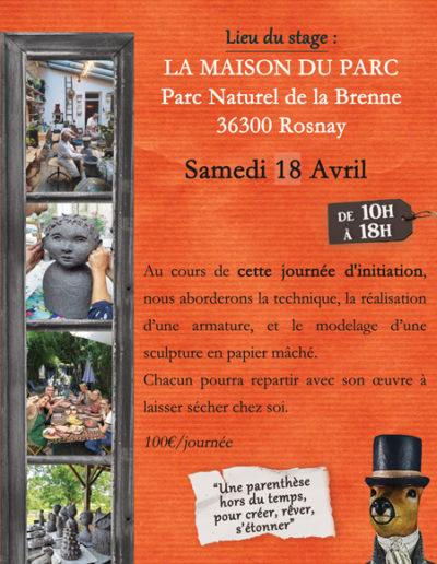 Stage collectif de sculpture en papier mâché - Samedi 18 avril 2020 à Rosnay (36) - Mélanie Bourlon artiste sculptrice