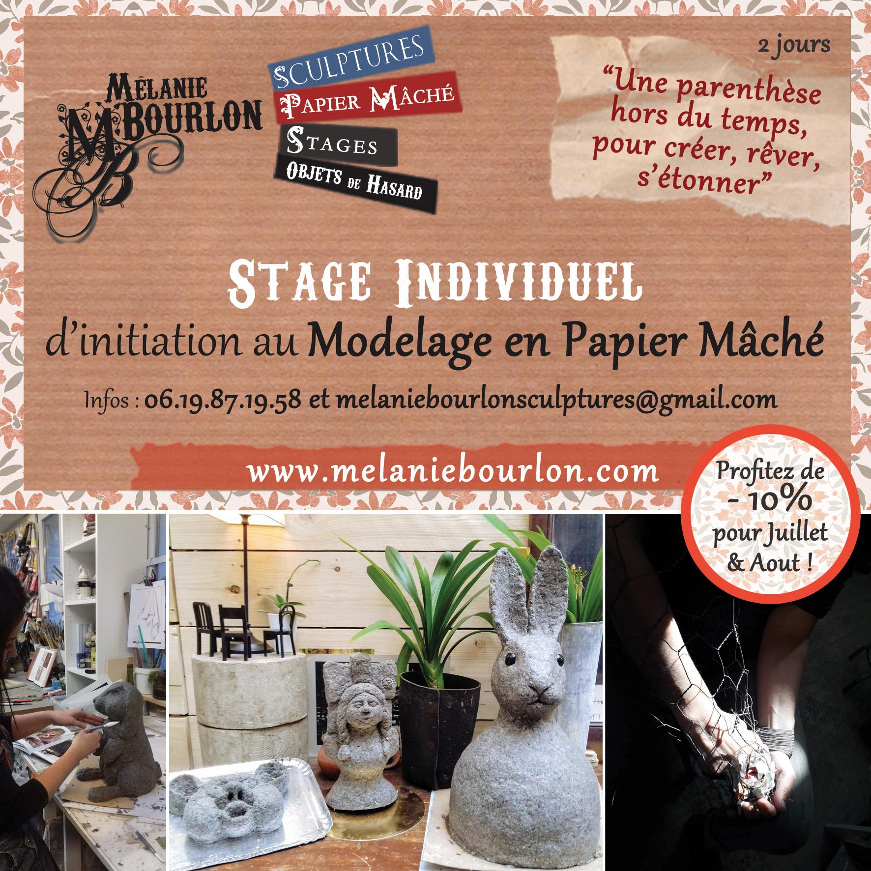 Stage individuel d'initiation au modelage en Papier Mâché avec Mélanie Bourlon - Aux Avenières - 10% de réduction pour juillet août 2020