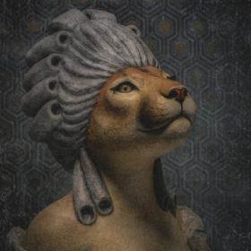 portrait-carré-20x20-marie-puma - Mélanie Bourlon - Sculpture en papier mâché