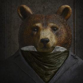 portrait-carré-20x20-sieur-ours-brun | Mélanie Bourlon, sculptures en papier mâché