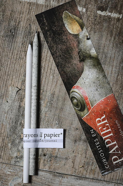 Coffret écriture - Mélanie Bourlon Sculptures en papier mâché - Crayons à papier et marque page