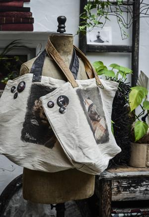 sacs en toile - lanières cuir - Mélanie Bourlon, sculptures Papier Mâché