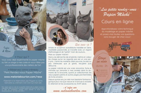 Cours en ligne technique du papier mâché : Stages visio à distance de 2h avec Mélanie Bourlon, artiste sculptrice