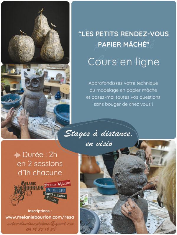 Affiche stages en visio - Papier Mâché - Mélanie Bourlon - Stage à distance