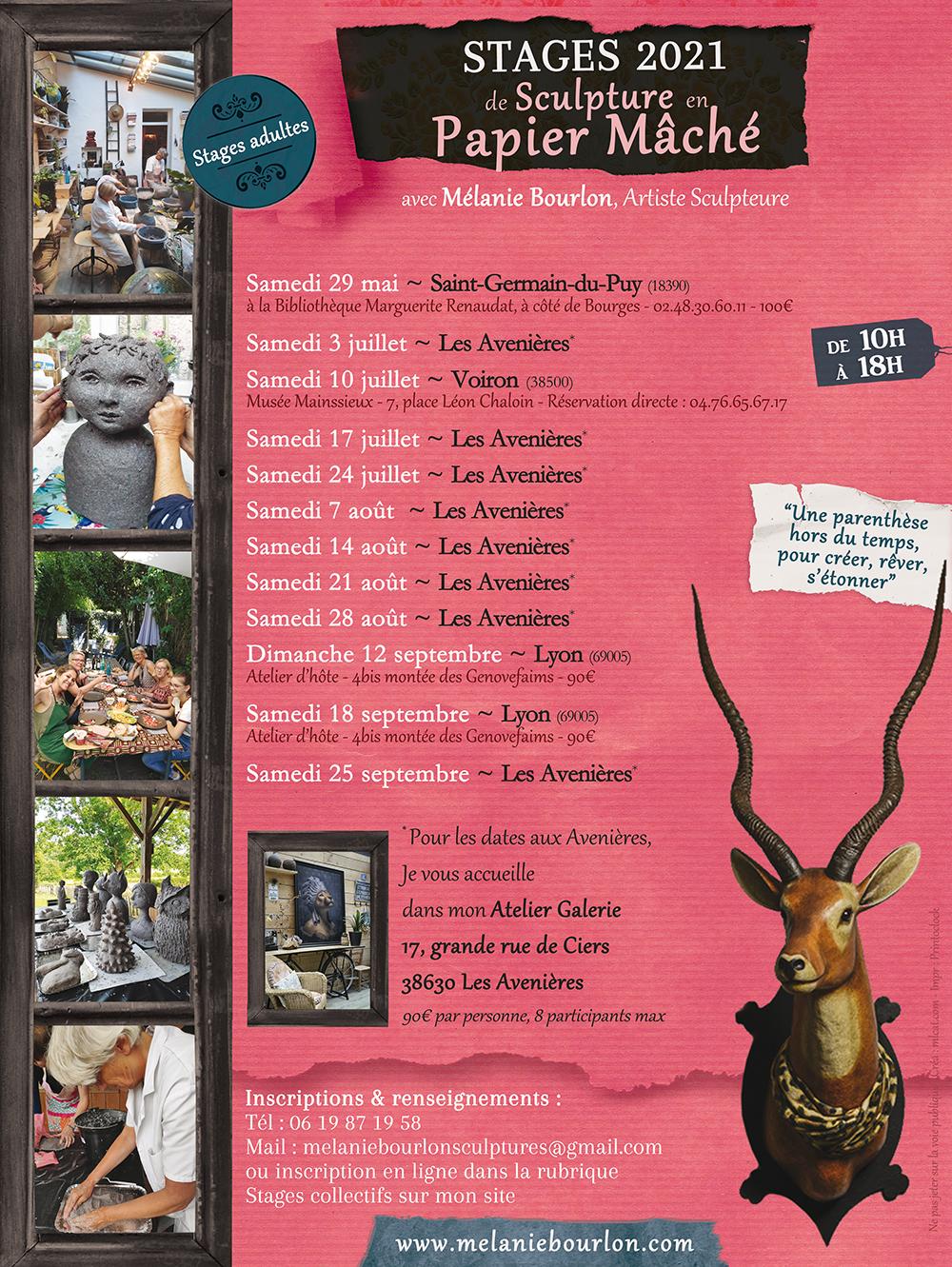 Stages de sculpture en Papier Mâché par Mélanie Bourlon - Dates 2021